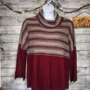 Style & Co. Cowl Neck Striped Chunky Sweater SZ 1X
